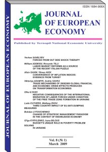 Journal of European Economy Volume 8, Issue 1, March 2009, Pages 1-109