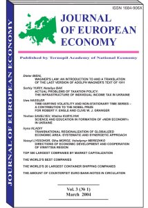 Journal of European Economy Volume 3, Issue 1, March 2004, Pages 1-124