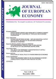 Journal of European Economy Volume 3, Issue 4, December 2004, Pages 371-474