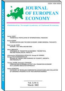 Journal of European Economy Volume 2, Issue 1, March 2003, Pages 1-144