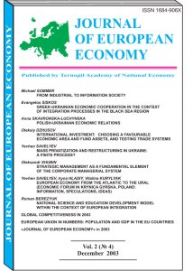Journal of European Economy Volume 2, Issue 4, December 2003, Pages 389-508